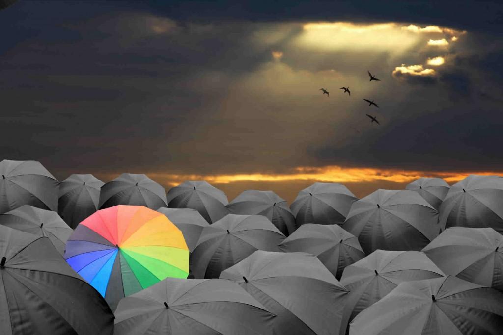 colourful umbrella amongst black umbrellas